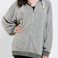Urban Outfitters - Sparkle & Fade Burnout Oversized Zip-Up Hoodie Sweatshirt