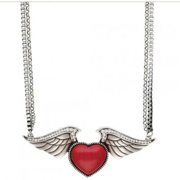 Wing necklace with red heart stone