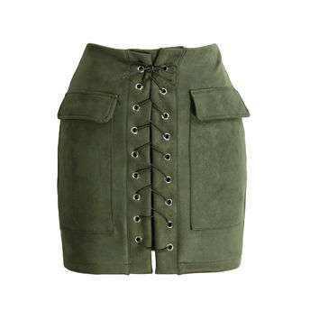 Vintage Lace Up Suede Leather High Waist Short Pencil Skirt in Dark Green