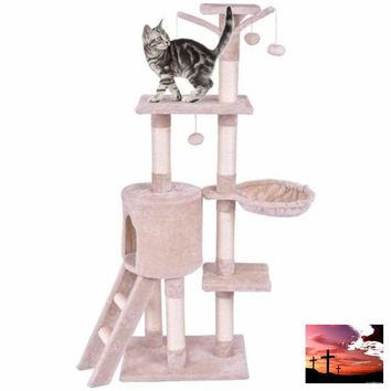 "56"" Cat Tree Wood Kitten Pet Play House-FREE SHIPPING!!"