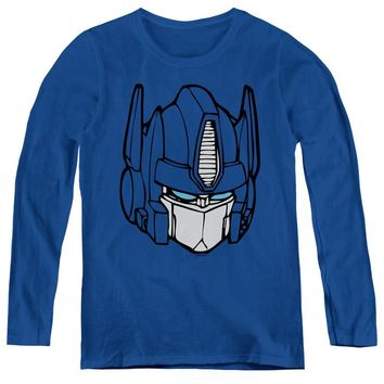 Transformers Womens Long Sleeve Shirt Optimus Prime Face Royal