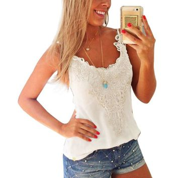 Lace Trim Casual Summer Tank Top