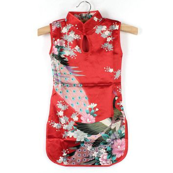 Chinese Cheongsam Kids Baby Girl Dress Retro Floral Peacock Dress for 2-8 Years Girls