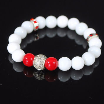 White Jade With Red Pearls Ascent Elegant  Bracelets