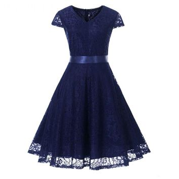 V-neck Lace navy blue Short Bridesmaid Dresses Wedding Party Dress Prom Gown Women's Fashion