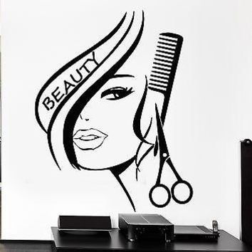 Vinyl Wall Decal Hair Beauty Salon Barbershop Hairdresser Sexy Girl Stickers Mural (ig1736)