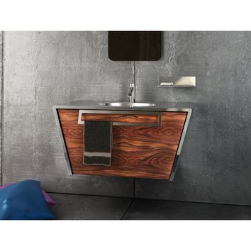 "Quatordici 39-3/8"" Wall Bathroom Vanity 1 DRW and 1 Hidden DRW, Steel and Solid Wood - DROP Sink"