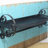Vintage Metal Shelf With Towel Bar Scrolled Ends and Reticulated Edge Black