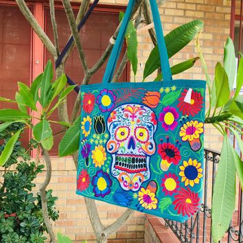 Sugar Skull Embroidered Tote Teal
