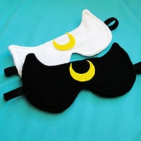 Luna or Artemis Sailor Moon Inspired Sleepmask  by emandsprout