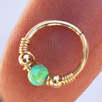 Nose Ring, Cartilage Earing Green Opal, Helix earring, Cartilage Hoop Earring, Helix piercing, Nose Ring Hoop, Septum Jewelry