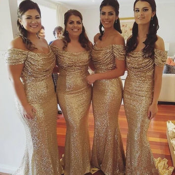 Gold Sequin Bridesmaid Dresses Sparkly Boat Neck Off the Shoulder Wedding Party Gowns Sexy Long Sheath Brides Maid Dress