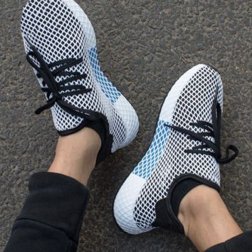 Adidas Deerupt Running Shoes Runner Trifolium Mesh Sneakers B-CSXY White Surface With Blue/white Soles