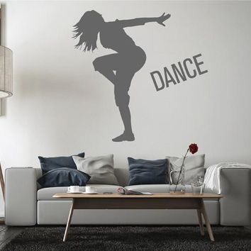 ik2521 Wall Decal Sticker girl dancing movement living room bedroom teen dance school