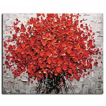 "Abstract Flower Petals DIY Canvas Oil Painting By Numbers Kit - DIY Art Home Decor 16""x20"" No Frame"