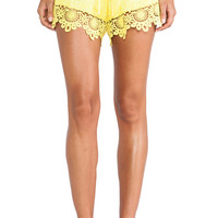 Alexis Gozo Crochet Trimmed Shorts in Yellow
