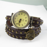 Brown Leather watch,three lap wrist Wrap watch,Pinky Promise watch,ladies watch, girls watch, woman watch, Bracelet watch,Sisters gift