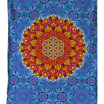 Flower Of Life Sacred Geometry Mandala Blanket