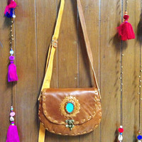 Light Brown Leather Handbag, Cross body Bag Purse with Turquoise Stone, Thailand Handmade. (KP1409)
