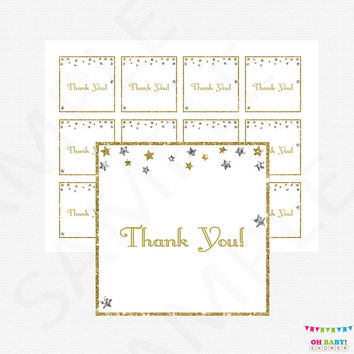 Twinkle Twinkle Little Star Baby Shower Thank You Tags, Silver Gold Baby Shower, Printable Favor Tags, Baby Shower Decor, Favor Cards, STSG