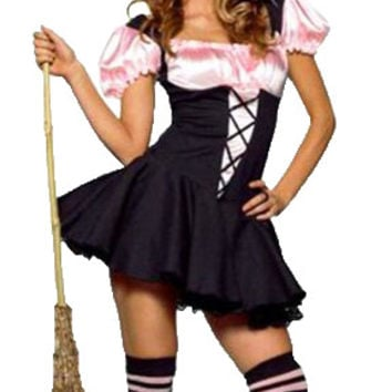 women's costume: pink and black witch | medium