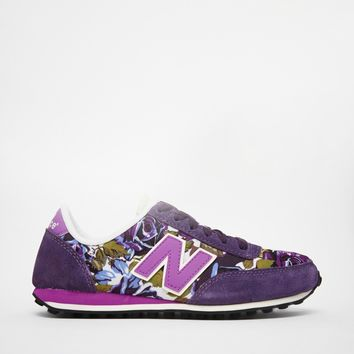 New Balance 410 Purple Floral Suede/Canvas Trainers