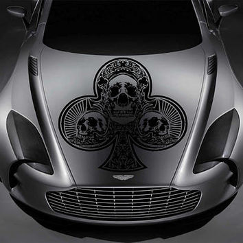 playing cards car hood decal skull Car Decals playing cards Car Truck skull Side Body Graphics Decal Sticker for car kikcar83