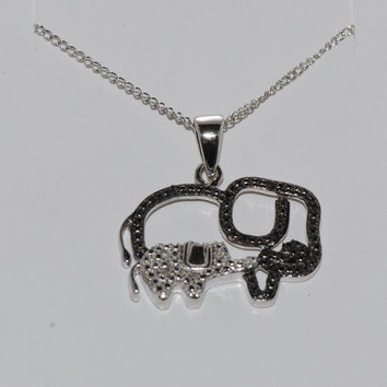 "925 Sterling Silver Diamond Pig Pendant Necklace .05ct, 18"" chain"