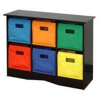 RiverRidge Kids 6 Bins Storage Unit- Espresso