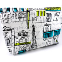 Eiffel Tower Famous Buildings and Cities Pencil Case or Makeup Bag. Long, Zippered, Travel, School or Work, Bright and Cute, Poncho Style