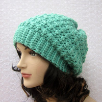 Mint Green Slouchy Crochet Hat - Womens Slouch Beanie - Oversized Cap - Fall Winter Fashion Accessories