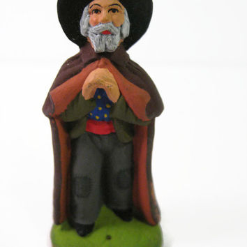Vintage Claude Carbonel Miniature Clay Figurine The Wiseman French Terracotta Clay Figurines