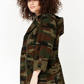 Plus Size Hooded Camo Utility Jacket