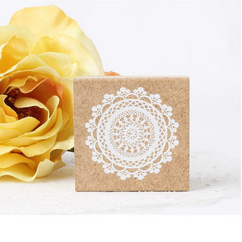 Stamp Floral Lace Wooden Rubber / Craft Favour Calligraphy Scrapbooking Wedding Party card making Stationery #503