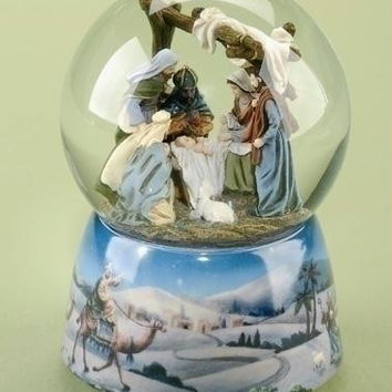 "2 Snow Globe Glitterdomes - Winds Up To Play The Tune  "" O Little Town Of Bethlehem """