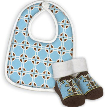 Blue Geometric Bib/Bootie Set