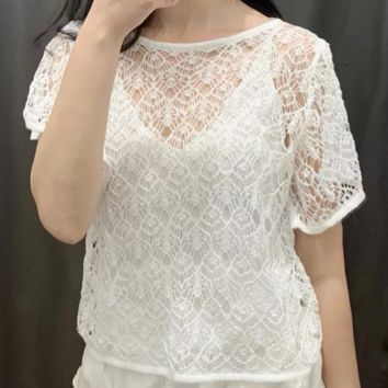 Women's hot selling sexy layered jacquard mesh tops