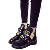 Leather Ankle Boots Fashion Cut Out Boots Buckle Black Sexy Punk Autumn Shoes Women Rainboots Motorcycle Leather Ankle Boots