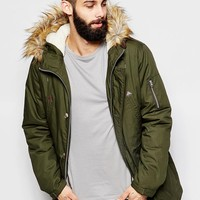 ASOS Parka Jacket With Faux Fur Hood In Khaki at asos.com