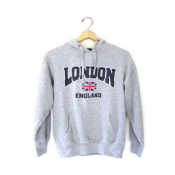 London England sweatshirt. Hooded sweatshirt. Gray preppy grunge Hoodie. British pullover. XS