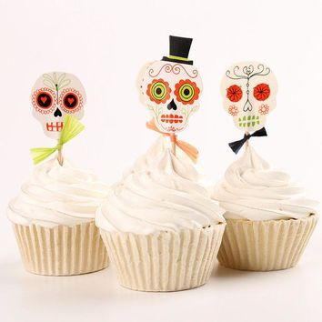 ONETOW 24pcs/lot Halloween skull Cupcake Wrappers Liners Party Decorations #03