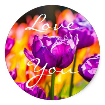 Tulips Enchanting Purple Classic Round Sticker