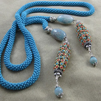 Unique handmade Lariat style blue necklace