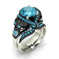 London Blue Topaz Silver Skull Engagement Ring Set