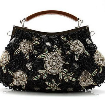 BEA110 Medium Beaded & Sequined Vintage Roses Handbag Evening Party Purse Wedding Clutch Gift
