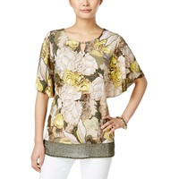 JM Collection Womens Embellished Floral Print Pullover Top