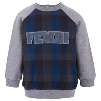Fendi Grey Sweatshirt With Tartan Front | AlexandAlexa