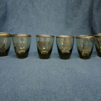 Vintage Vicky Peru Silver on Glass Shot Glasses Aztec Style All Different Rare