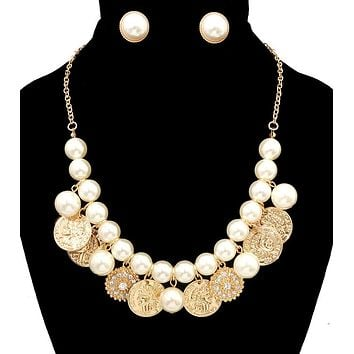 Coin Charms with Pearl Necklace Set