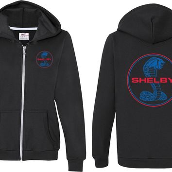 Ladies Ford Full Zip Hoodie Shelby Blue and Red Logo Front and Back
